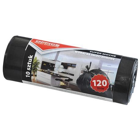 Worki 120l czarne grube na rolce (10) Office Produ-12486