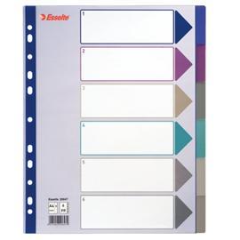 Przekładki plastikowe Esselte A4 maxi 6 kolor