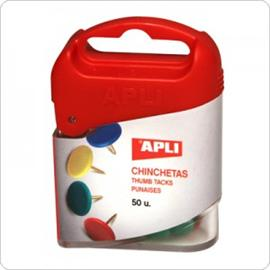 Pinezki kolorowe, 50 szt. w pudełku APLI