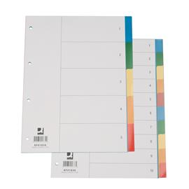 Przekładki plastikowe Q-Connect A4 10 kolorów