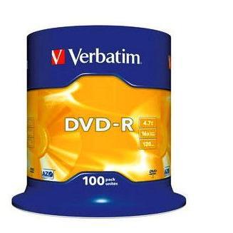 Dysk DVD-R Verbatim 4,7GB cake (100) 43549-167
