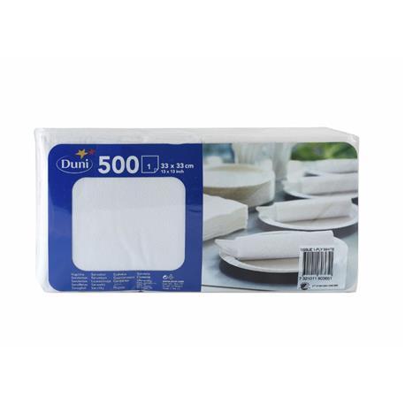 Serwetki Duni 1-warstwowe białe 33x33 (500)-16089