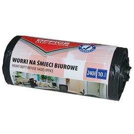 Worki 240l mocne wiązane czarne LDPE (10) Office P