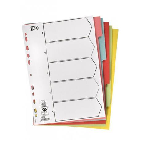 Przekładki kartonowe Elba A4/5 kolorów-18394