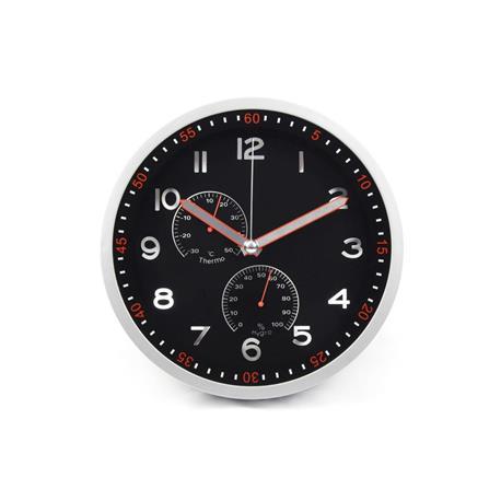 Zegar ścienny PSP30 30cm czarno srebrny-18646