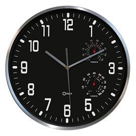 Zegar ścienny Cep Thermo-Hygro 30cm czarny