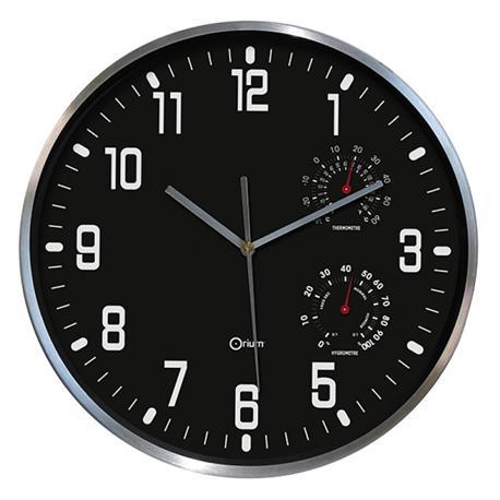 Zegar ścienny Cep Thermo-Hygro 30cm czarny-18712