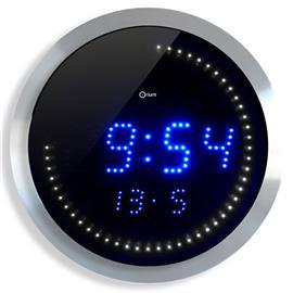Zegar ścienny Cep Led 30cm niebiesko srebrny