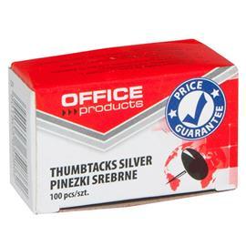 Pinezki klasyczne Office Products srebrne 100 szt.