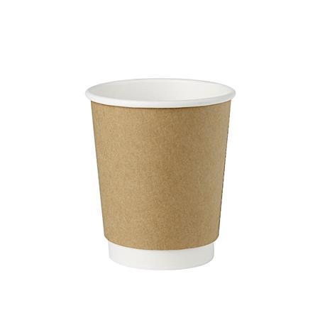 Kubek papierowy 200ml dwuwarstw.bia/brąz (25)-23089
