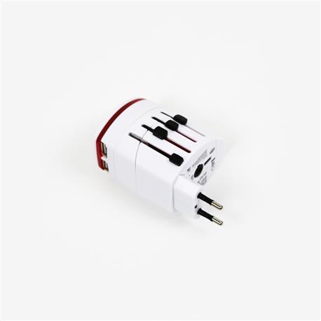 Adapter gniazdka UK USA EUR CHN 2xUSB biały OTRA2-23351
