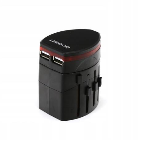 Adapter gniazdka UK USA EUR CHN 2xUSB czarn OTRA2B-23356