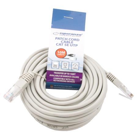 Kabel PATCHCORD 10m, szary, Esperanza-23286