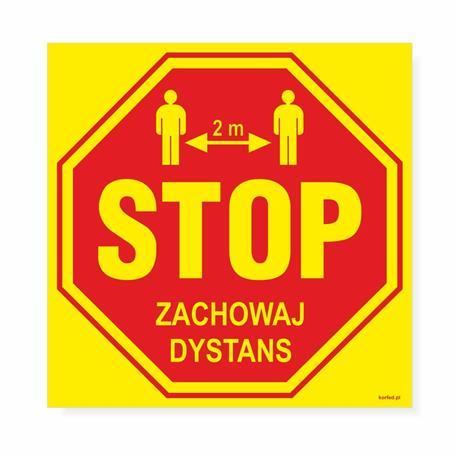 Naklejki ZACHOWAJ DYSTANS 23x23cm 5 szt.-24822