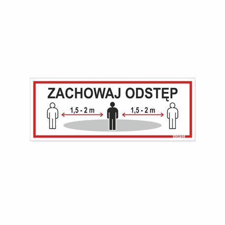 Tabliczka ZACHOWAJ ODSTĘP 21x8 cm-24830