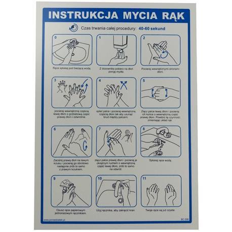 Tabliczka INSTUKCJA MYCIA RĄK 35x25 cm-24836