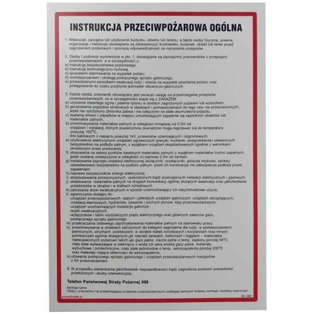 Tabliczka INSTRUKCJA PRZECIWPOŻAROWA ogólna-24838