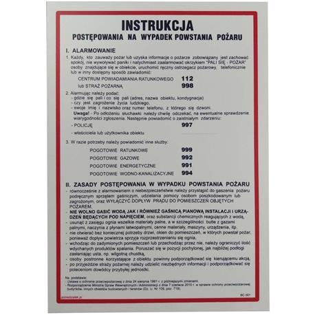 Tabliczka INSTRUKCJA NA WYPADEK POŻARU-24839